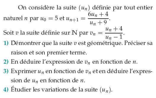 Suite récurrente, suite géométrique et variations : exercices en 1ère S.