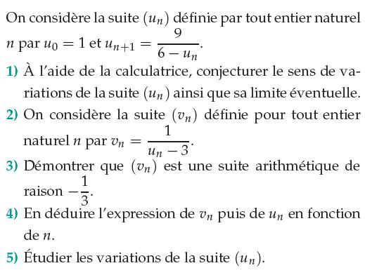 Une suite arithmétique et ses variations : exercices en 1ère S.