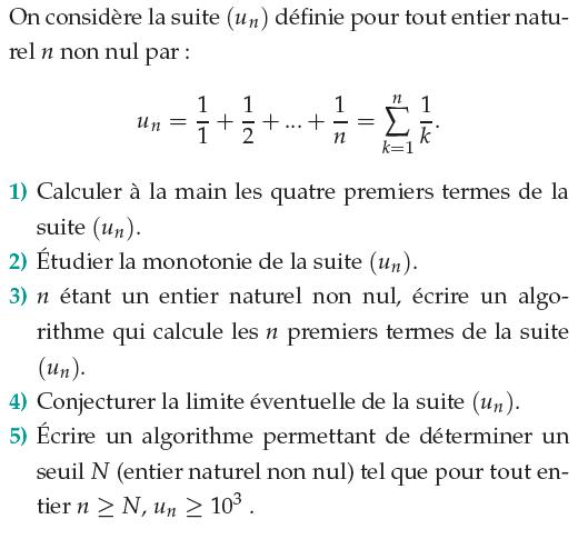 Somme des inverses et limite : exercices en 1ère S.