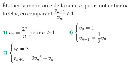 Comparer le quotient de deux termes consécutifs : exercices en 1ère S.