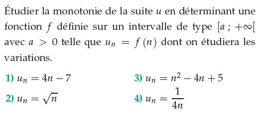 Fonction et monotonie d'une suite : exercices en 1ère S.