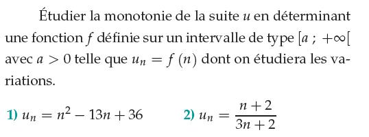 Etudier la monotonie de suites : exercices en 1ère S.