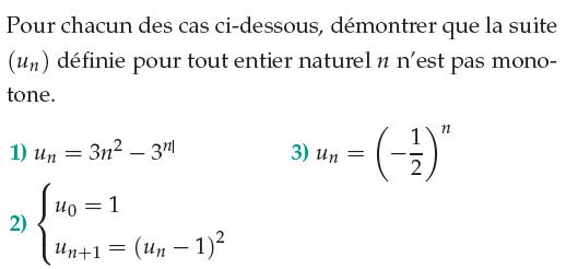 Démontrer que la suite n'est pas monotone : exercices en 1ère S.