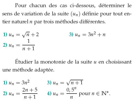 Limite et variation d'une suite : exercices de maths 1ère S (première S) à imprimer et ...