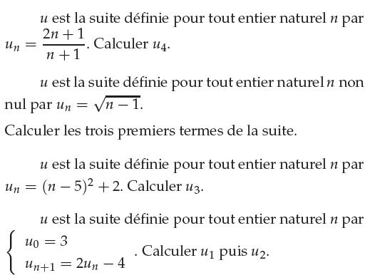 Calcul des termes d'une suite numérique : exercices en 1ère S.