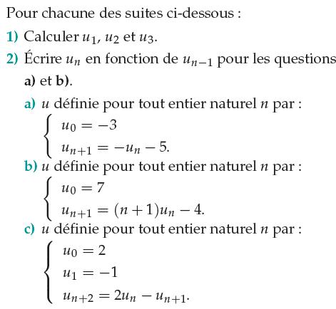 Suites récurrentes et terme de rang n : exercices en 1ère S.
