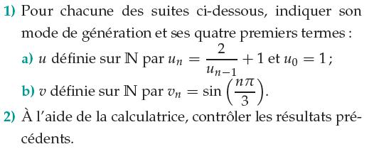 Mode de génération des 4 premiers termes d'une suite : exercices en 1ère S.
