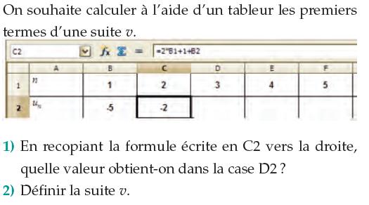 Tableur et formule des termes d'une suite v : exercices en 1ère S.