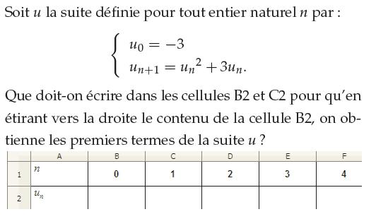 Suite récurrente et utilisation du tableur : exercices en 1ère S.
