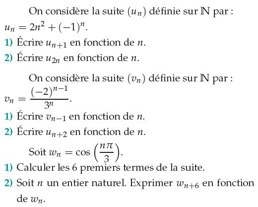 Etude de trois suites : exercices en 1ère S.