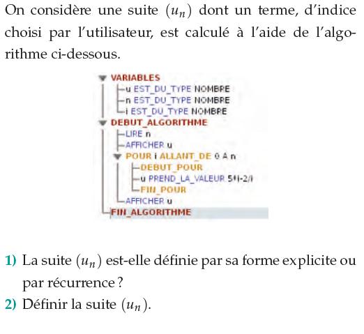 Algorithme et  terme d'une suite défini par sa forme explicite : exercices en 1ère S.