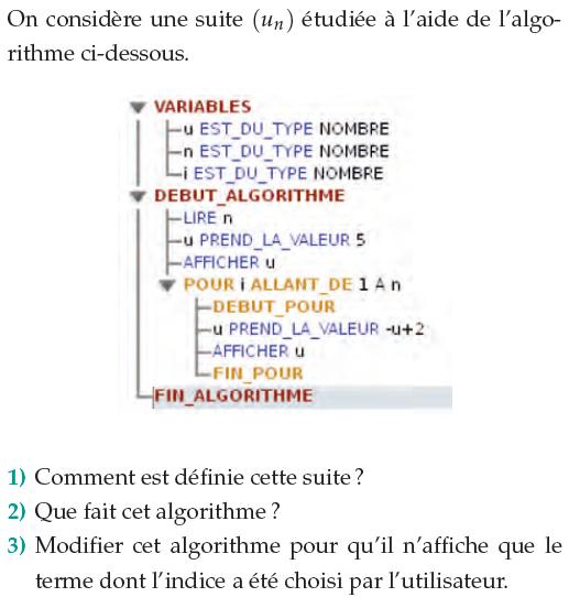 Algorithme et définition d'une suite numérique : exercices en 1ère S.