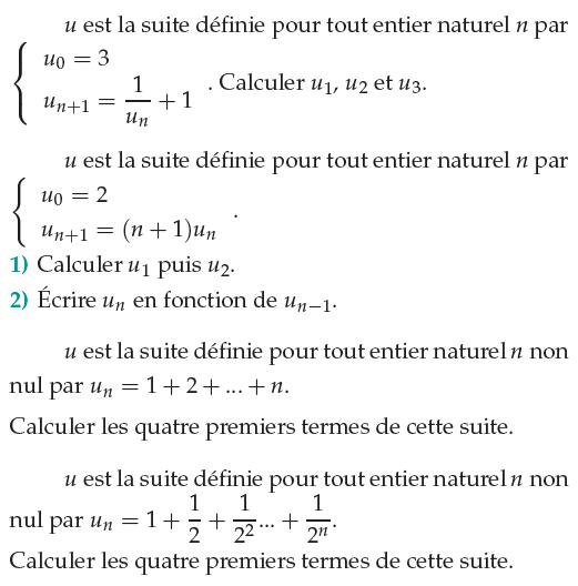 Suites récurrentes et somme de termes : exercices en 1ère S.