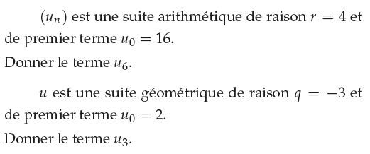 Suite arithmétique et suite géométrique : exercices en 1ère S.