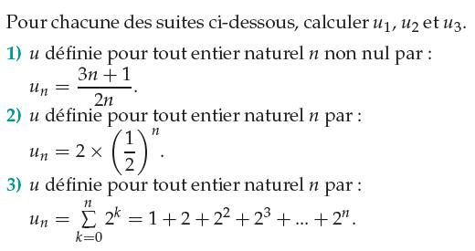 Calculer les premiers termes d'une suite : exercices en 1ère S.