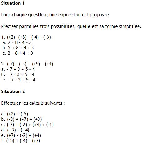 calcul nombres relatifs pour demain 4ème Mathématiques