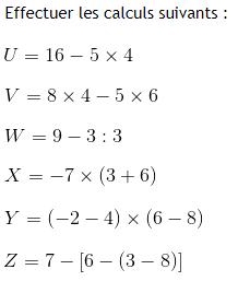 Calcul avec les nombres relatifs : exercices en 4ème.