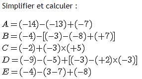 Simplifier et calculer des expressions numériques : exercices en 4ème.