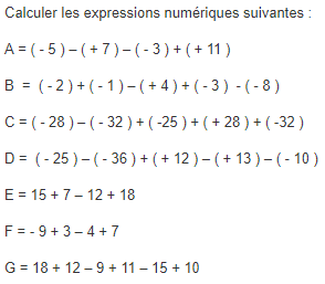 Opérations sur les nombres relatifs : exercices en 5ème.