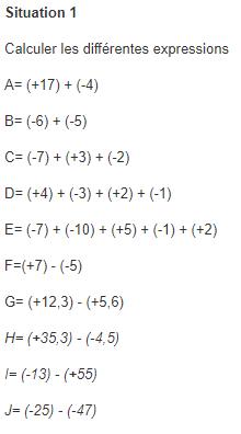 Opérations sur les nombres relatifs. : exercices en 5ème.