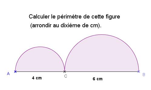 Calculer le périmètre de cette figure : exercices en 6ème.