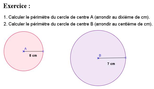Calculs du périmètre de deux cercles : exercices en 6ème.