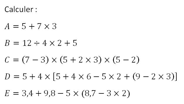 Priorités des opérations et calculs : exercices en 5ème.