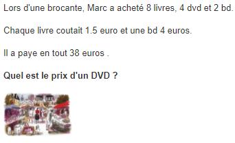 Brocante et prix d'un DVD : exercices en 5ème.