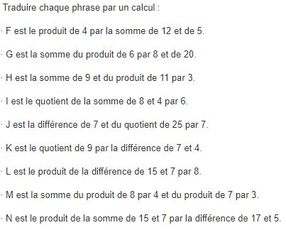 Traduire une phrase par un calcul : exercices en 5ème.