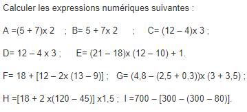Expressions contenant des parenthèses : exercices en 5ème.