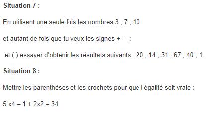 Priorités opératoires. : exercices en 5ème.