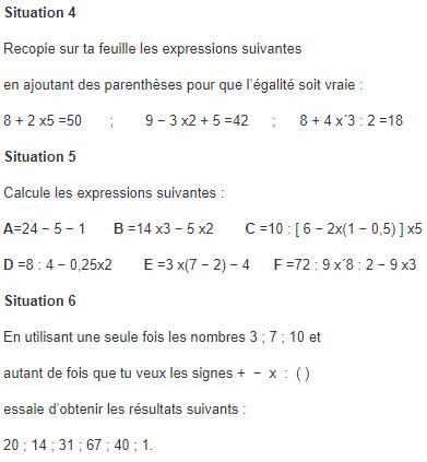Les Priorites Operatoires Exercices De Maths 5eme Cinquieme A Imprimer Et Telecharger En Pdf
