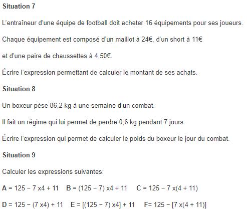 Priorités opératoires (14 exercices) : exercices en 5ème.