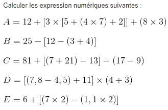 Calcul numérique et parenthèses : exercices en 5ème.
