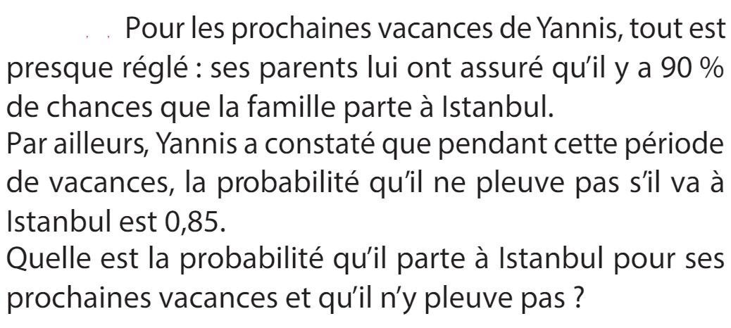 Vacances à Istanbul et probabilités : exercices en 1ère S.