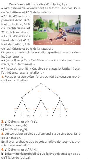 L'association sportive du lycée : exercices en 1ère S.