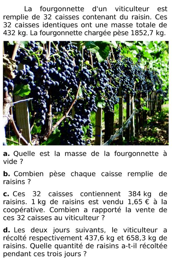 La fourgonnette d'un viticulteur : exercices en 6ème.