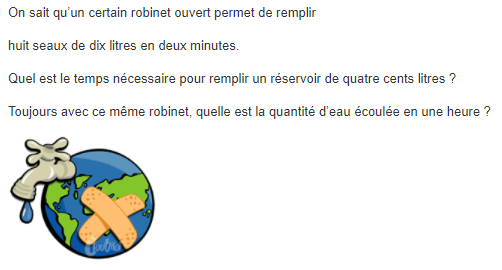 Robinet ouvert et proportionnalité : exercices en 6ème.