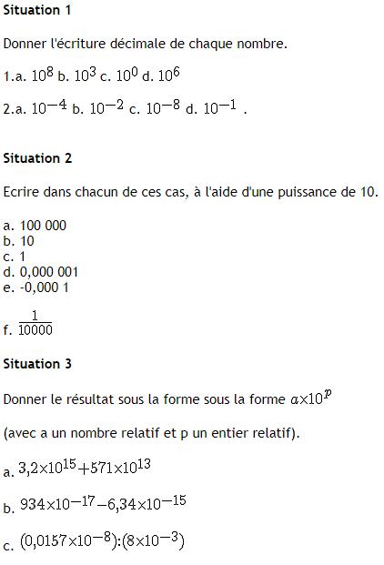 Puissances de 10 et calculs : exercices en 4ème.