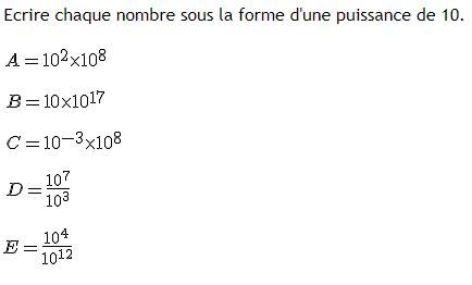 calculs simples et puissances de 10 : exercices en 4ème.