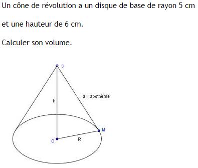 Calcul du volume d'un cône de révolution. : exercices en 4ème.