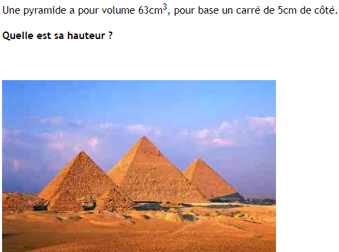 Calcul de la hauteur d'une pyramide : exercices en 4ème.