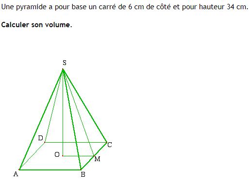 Volume d'une pyramide à base carrée : exercices en 4ème.
