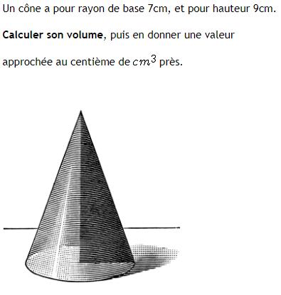 Volume d'une cône de révolution : exercices en 4ème.