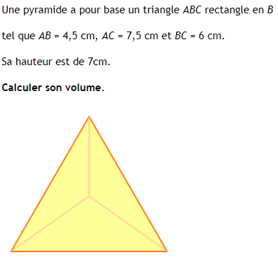 Volume d'une pyramide à base triangulaire : exercices en 4ème.