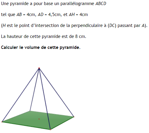 Volume d'une pyramide à base un parallèlogramme : exercices en 4ème.