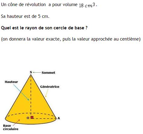 Calcul du rayon de la base d'un cône : exercices en 4ème.