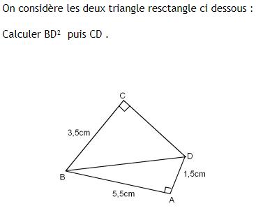 Théorème de pythagore et applications : exercices en 4ème.