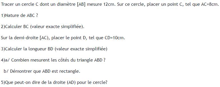 théorème de pythagore et cercle. : exercices en 4ème.