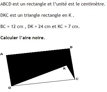Pythagore et calcul d'aire. : exercices en 4ème.